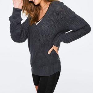 VS PINK Knit V Sweater Blue Grey Infinity
